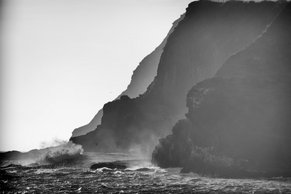 Coastal scene in black and white